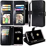 Harryshell Luxury 12 Card Slots Kickstand Shockproof PU Leather Wallet Flip Protective Case Cover with Wrist Strap for LG V20 (Black)