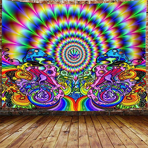 DYNH Psychedelic Tapestry, Trippy Mushroom Weed Marijuana Leaf Surreal Tapestry Wall Hanging for Bedroom College Dorm, Colorful Abstract Hippie Boho Tapestry Home Decor 71X60 Inches