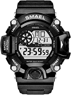 Men's Sports Watch, Digital Watch Military Watch with Waterproof Function and Alarm Clock- Black