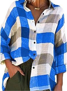 أبيكوك المرأة زائد الحجم بلايز عارضة زر أسفل كم طويلة منقوشة طباعة قمصان بلوزة