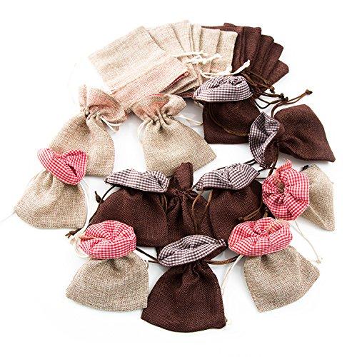 24 adventskalender zakjes stoffen zakjes 10 x 13 cm kerstzakje cadeauzakje bruin rood natuur geruit verpakking cadeauzakjes