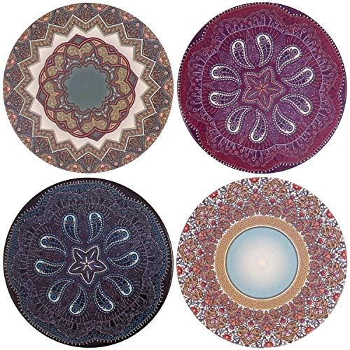 Posavasos absorbentes para bebidas, cerámica con soporte de corcho, estilo mandala (mandala02) Mandala01