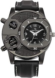 Scpink Tendenza Orologio maschile quarzo digitale tempo libero alla moda silicone cinturino orologio da polso (Nero)