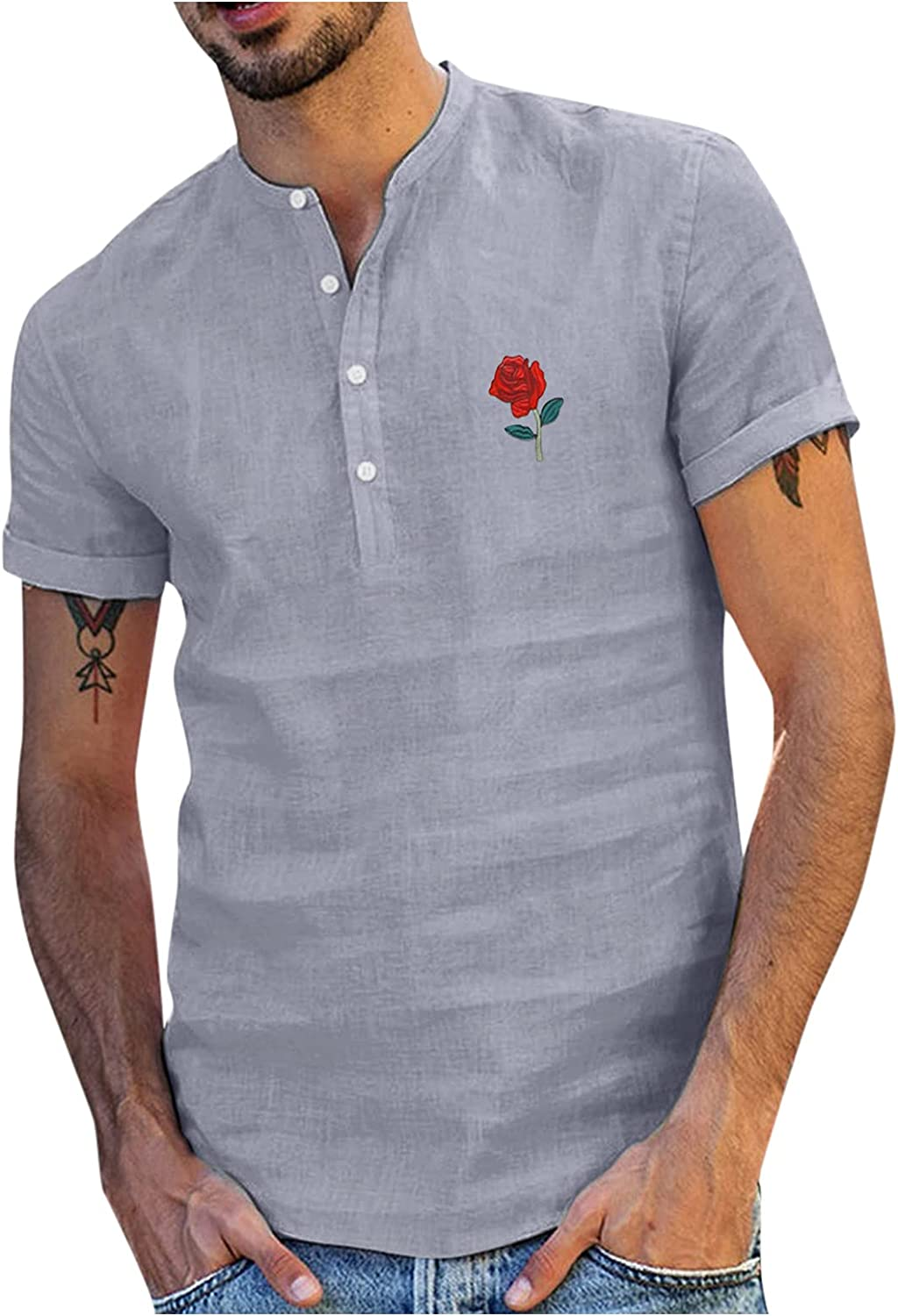 WOCACHI Short Sleeve Casual Shirts for Mens, Rose Print Front Placket Button-up Stand Collar Henley Tops Tshirts
