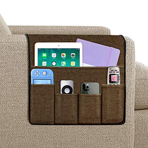 Joywell Sofa-Armlehnen-Organizer, 5 Taschen, Fernbedienungshalter auf Couch und Stuhlarm für TV-Fernbedienung, Zeitschriften, Bücher, Handy, iPad, Schokolade