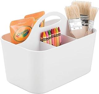 mDesign Art Supply Storage Box - Craft Supply Organiser Caddy - Sewing Storage Basket Tote - White