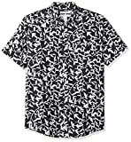 Amazon Essentials Men's Slim-Fit Short-Sleeve Print Linen Shirt, Black Leaf, Large