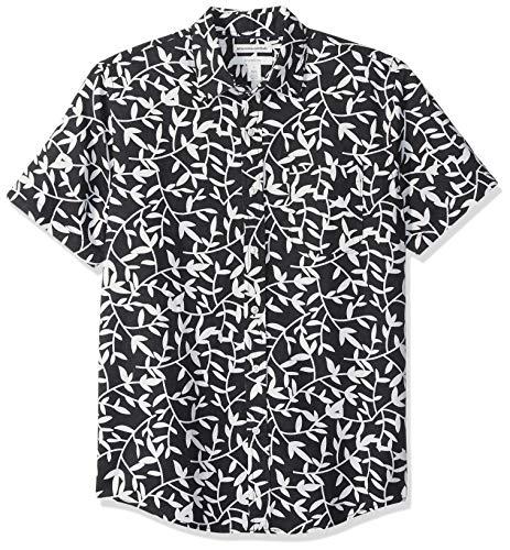 Amazon Essentials Men's Slim-Fit Short-Sleeve Print Linen Shirt, Black Leaf, X-Large