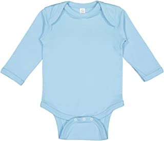 4411 Rabbit Skins Infant Baby Rib Long-Sleeve Creeper - Light Blue - 12M