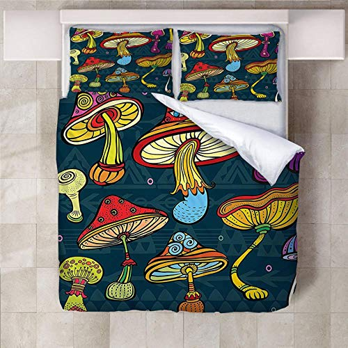 PERFECTPOT Single Duvet Cover Set Colored Mushrooms Printed Bedding Duvet Cover Set in Polyester with Zipper Closure Quilt Bedding Sets with 2 Pillowcases for Adults Kids Children, 140 x 200 cm