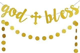 LeeSky Gold Glittery God Bless Banner and Gold Glittery Circle Dots Garland (25pcs Circle dots) -Baptism Banner,Communion ...