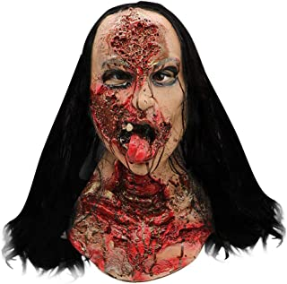 Wig Female Ghost Style Mask Melting Face Adult Latex Costume Halloween Scary