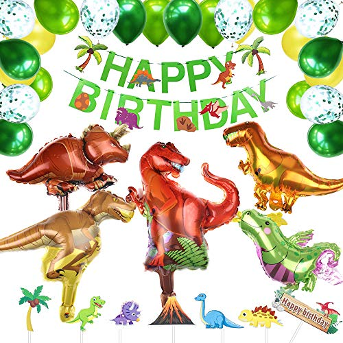 BOYATONG Dinosaurier Geburtstag Party Dekoration,Geburtstagsdeko Jungen,Dino Geburtstag Deko mit Happy Birthday Girlande und Konfetti Luftballons Grün für Dekoration Urwald Party Geburtstag Junge