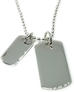 """925 Sterling Silver Small and Big Solid Dog Tags Pendant on 20"""" / 51 cm & 2 mm Thick Silver Ball Chain"""