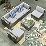 YITAHOME 6 Pieces Patio Furniture Set, Outdoor Sectional Sofa PE Rattan Wicker Conversation Set Outside Couch with Table and Cushions for Porch Lawn Garden Backyard, Grey