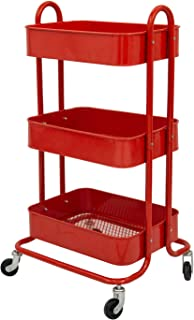 Q&Y 3-Tier Metal Mesh Rolling Utility Cart Heavy Duty Storage Organizer Red