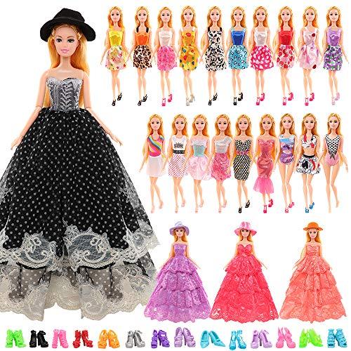 Miunana 27 Accesorios para Barbie Muñeca: 2 Vestidos De Novia + Sombreros + 6 Vestidos + 6 Minivestidos + 3 Trajes De Baño + 10 PCS Zapatos (No Incluye Muñeca)