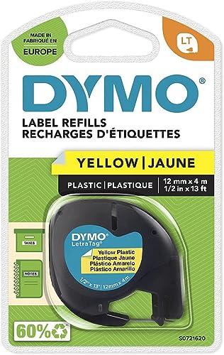 Dymo LetraTag Etiquetas de plástico, rollo de 12mmx4m, Azul sobre Amarillo