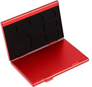 再利用可能なSIMカードケースTFカードホルダーSIMカードホルダー12スロット耐久性のあるメモリカードメモリ用アルミニウム(red)
