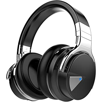 COWIN E7 Active Noise Cancelling Bluetooth Deep Bass Wireless Headphones with Microphone - Black (Renewed)