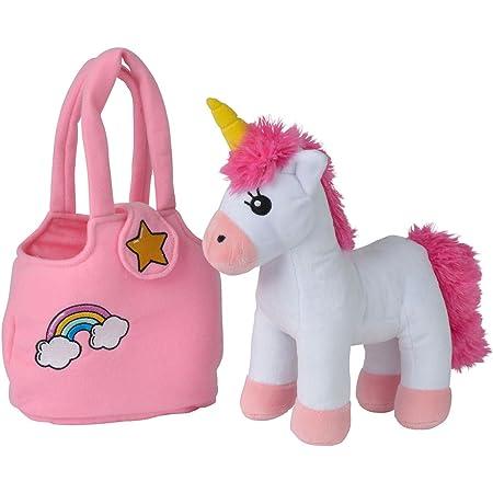 Simba 105560064 - Steffi Love Girls Plüsch Einhorn mit Tasche, mit Klettverschluss, Unicorn 28cm, ab 3 Jahren