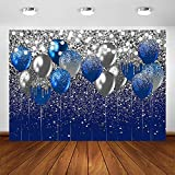 Avezano Royal Blue Glitter Backdrop for Birthday Wedding Prom Graduation Photography Background Party Glitter Blue Balloon Party Decorations Photoshoot Photobooth (7x5ft, Blue and Silver)