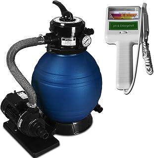 Deuba Depuradora 10.200 l-h bomba de filtro de arena con valvula con 4 funciones + medidor de calidad de agua para piscina