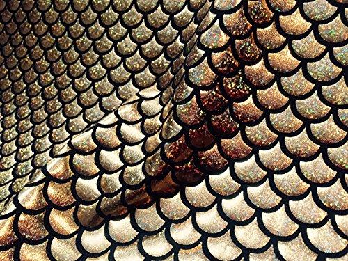 Sirène Échelle Tissu imprimé conte de poisson Balances Foil – 2 voies Matière stretch en Lycra Spandex – 150 cm de large – Doré et Noir (Prix au mètre)