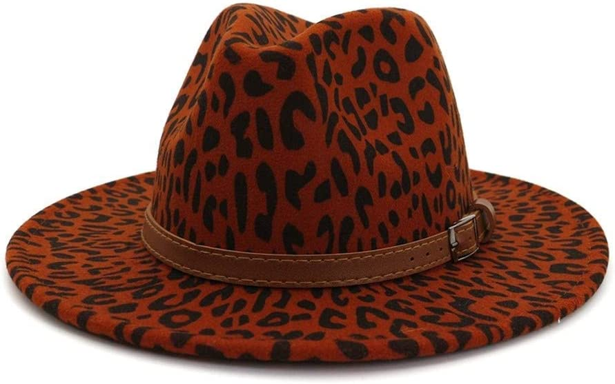 QQSA European US Autumn Winter Leopard Print Jazz Fedora Hats wịth Belt Buckle Decor Men Women Panama Wool Felt Cap's (Color : Burgundy, Size : 56to58cm)