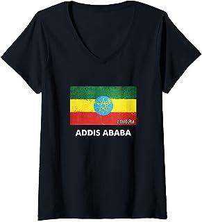 Donna Addis Abeba Etiopia Maglietta con Collo a V