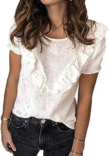 UUYUK Women Fashion Short Sleeve Ruffle O-Neck Tops Blouse T Shirts
