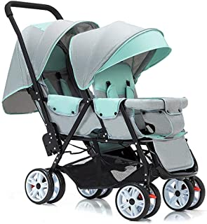 OCYE Double Stroller//Tandem Stroller//Double Stand Stroller//Side by Side Tandem Umbrella Stroller Foldable Wide Sleeping Basket Multi-Range Adjustable Awning Oversized Basket