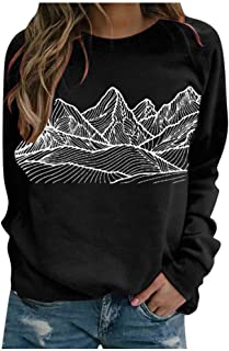 Women Sweatshirts Long Sleeve Abstract Mountain Print...