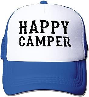MZONE Personalized Mesh Cap Hat Happy Camper Poster Sun Cap Hat Black