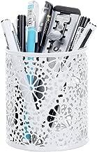 Crystallove Metal Hollow White Pencil Holder for Desk