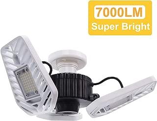 HUNHUN LED Garage Lights, Deformable LED Garage Ceiling Lights 7000 Lumens, 60W CRI 80 Led Shop Lights for Garage, Adjustable Garage Lights, Led Garage Lighting (5000K Daylight, 1-Pack)