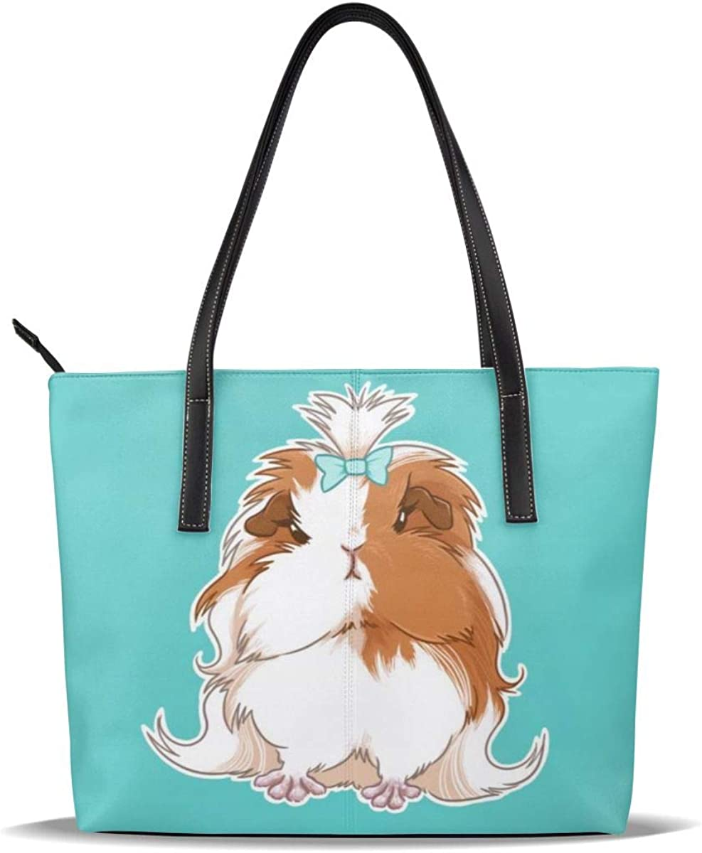 Guinea Pig Art Blue Dallas Mall PU Leather Pattern Printed Handbags Limited time sale Casual S