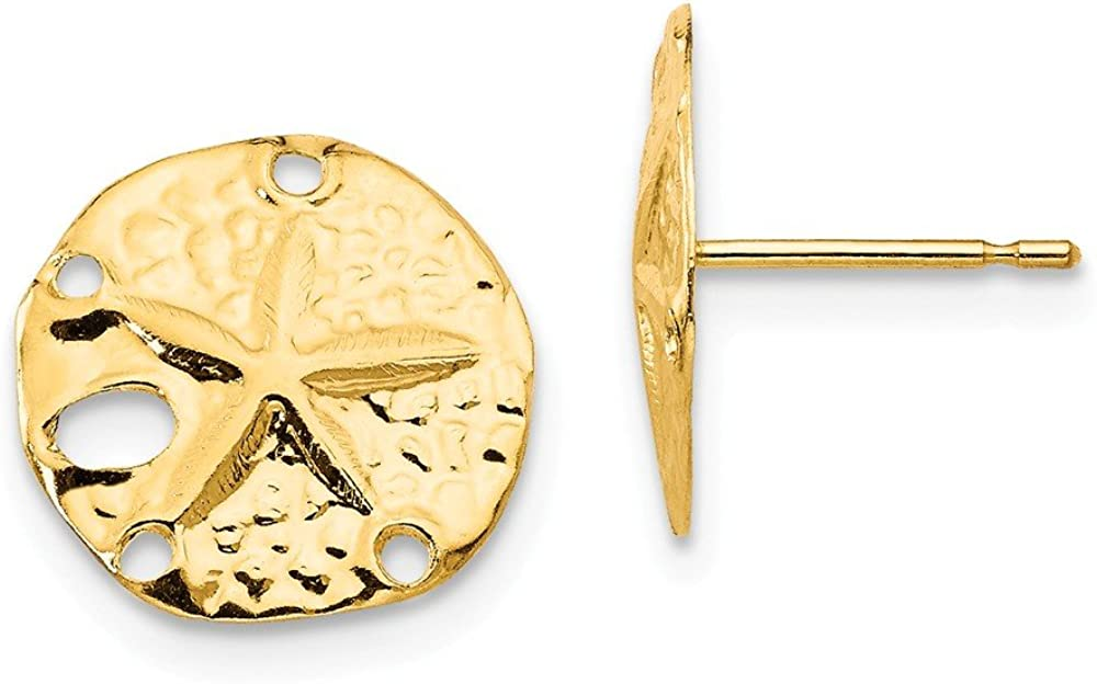 14k Yellow Gold Sand Dollar Sea Star Starfish Post Stud Earrings Animal Life Fine Jewelry For Women Gifts For Her