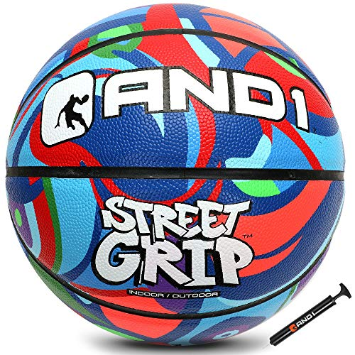 """AND1 Street Grip Premium Composite Basketball amp Pump Official Size 7 295"""" Streetball Made for Indoor and Outdoor Basketball Games Multi Color"""
