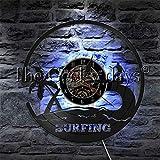 fdgdfgd Clásico CD Record Summer Beach Surfing Deportes acuáticos Disco de Vinilo Reloj de Pared Hobby Gift | Decoración única para el hogar