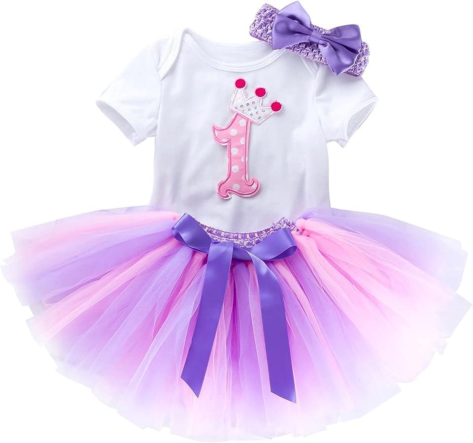 Baby Mädchen Kleinkind 1. / 2. Geburtstag Outfit Kurzarm Strampler Body + Tutu Rock + Stirnband Cake Smach Fotografie Kostüm Prinzessinenkleid