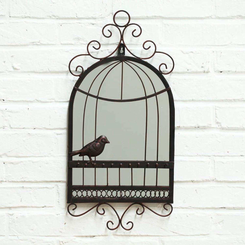 Bird Cage Wall Mirror Birdcage Gorgeous Pottery Barn Mirror Cast Iron with Bird Rustic Decor,B