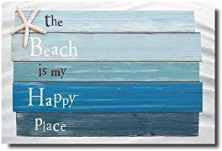 Vandarllin Beach Themed Doormats Rugs-The Beach is My Happy Place - Plank Board Sign with Starfish Non-Slip Indoor/Outdoor/Front Door/Bathroom Mats