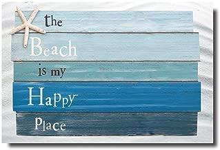 Vandarllin Beach Themed Doormats Rugs-The Beach is My Happy Place - Plank Board Sign with Starfish Non-Slip Indoor/Outdoor/Front Door/Bathroom Mats