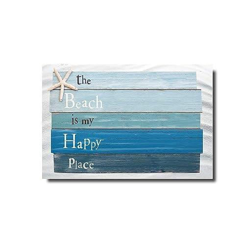 Vandarllin Beach Themed Doormats Rugs-The Beach is My Happy Place - Plank Board Sign