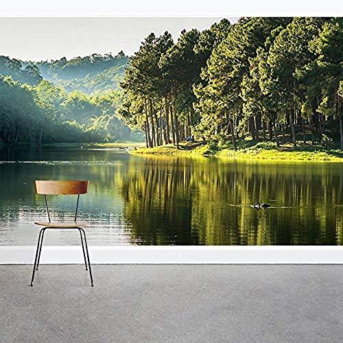 wallpaper Spring Lake Jungle TV Wandbild wallpaper fototapete 3d effekt tapete tapeten wald vintage wandbild wandbilder kinderzimmer-400cm×280cm