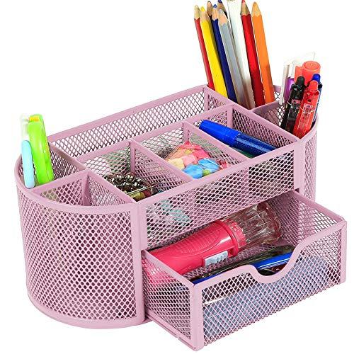 Organizador de escritorio para oficina, soporte para bolígrafos de malla de metal, soporte para bolígrafos para la oficina, organizador de metal para oficina, organizador de escritorio multifunción