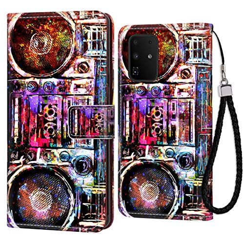 Wallet Case Fit Samsung Galaxy S20+ Galaxy S20 Plus (2020) (6.7 Version) Boombox Cassette Tape Recorder for Women