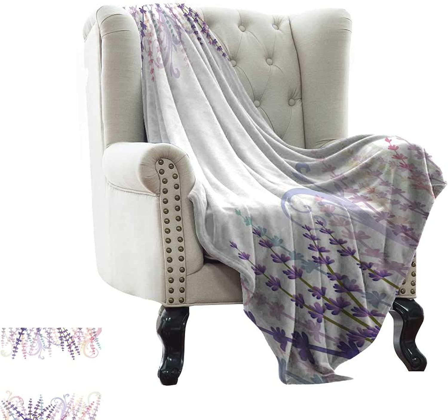 WinfreyDecor Super Soft BlanketsAbstract Meadow Aromatherapy Fragrance Healing Relaxing Herb Foliage Art Frame Sofa Chair 54  Wx72 L