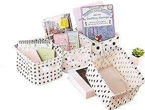 Lannu Pack 4 Canvas Storage Bins Basket Organizers Foldable Fabric Cotton Linen Blend Storage Baskets Bin for Makeup, Book...